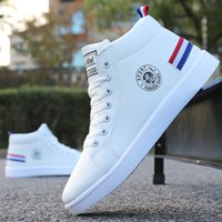 Wholesale winter hip hop shoes resale online - 2019 Autumn Winter Boots Men White High top Winter Shoes Men Hip Hop Casual Shoes Fashion Lace up Waterproof Leather Ankle Boots MX190819