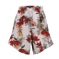 шорты с высокой талией оптовых-Women High Waist Shorts Summer Loose Casual Floral Print Beach Bottom Polyester Shorts One Pieces Woman