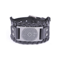 ирландские браслеты оптовых-NEW Cuff Wristband Punk Adjustable Leather Bracelets Vintage Punk Irish Knot Slavic Wicca Norse Runes Charms Jewelry