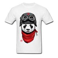 pandas felizes venda por atacado-O Feliz Aventureiro Panda Rider T Shirts Para Homens Hip Hop Motocicleta Tshirt Cool Fashion Tees Crewneck 100% Algodão