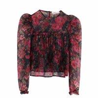 blumendruck organza großhandel-Neue Frauenweinlese-Hauchhülse Blumen beiläufig print Organza Kimono-Bluse Shirts Frauen faltete Rüschen blusas roupas Tops LS6013