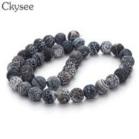 contas de pedras de ônix colares venda por atacado-Ckysee 40 cm / strand Weathering Black Onyx Pedra 8/10 / 12mm Rodada Solta Spacer Beads Para Colar DIY Pulseira Jóias fazendo