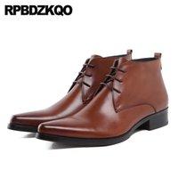 kahverengi yüksek üst elbise ayakkabıları toptan satış-Sivri Burun Oxford Artı boyutu Kahverengi Lace Up Biçimsel Patik Bilek Yüksek Top Chunky Erkek Fermuar Elbise Boots Ciltli Deri Ayakkabı