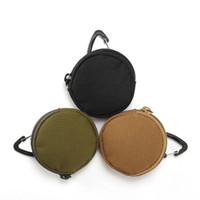 Wholesale headphones plastic bag resale online - Round Shape Key Bag Triangular Buckle USB Drive Headphone Bags Body Carry Headphones Protection Sack New Arrival hya L1