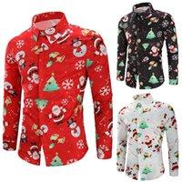 lustige kleider großhandel-Druck-Hemden des Weihnachtsmann-3D der Männer Schneemann-Weihnachtsmann-Druck-nette Hemden-Partei, die lustiges Kleid abends versandkostenfrei
