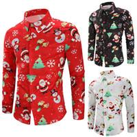 komik baskılı elbiseler toptan satış-Erkek Noel 3D Baskı Gömlek Kardan Adam Noel Baba Baskı Sevimli Gömlek Parti Akşam Komik Elbise Ücretsiz Kargo
