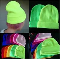 hop şekerleme toptan satış-Tasarımcı kadınlar Kasketleri Floresan Renk Örme Şapka erkekler erkek GD Hip-Hop şapka junior'ın sonbahar kış Yün Kint kap Şeker renk B90202 caps