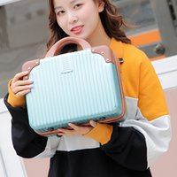 Wholesale clear mini cosmetic bags resale online - 14 inch Mini suitcase cosmetic bag Large capacity Portable makeup bag Travel organizer Toiletry Chic Waterproof Makeup case