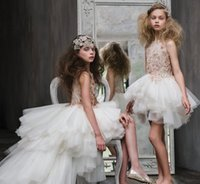 Wholesale luxury kids wedding dresses resale online - Luxury High Low Long Flower Girls Dresses for Wedding Lace Applique Crystal Princess Dress Kids Formal Wear Pageant Gown