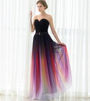vestidos de cortina elie saab venda por atacado-Moda Elie Saab Gradiente Barato Prom Dresses 2019 Sweetheat Plissado Chiffon Ombre Celebridade Red Carpet Evening Vestidos Em Estoque