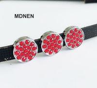 Wholesale dog collars bracelets resale online - 20pcs DIY accessory mm Full Rhinestone Round Slide Charm Bead DIY MM Dog Cat Collar Wristband Bracelets New