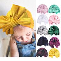 Wholesale football hair bows resale online - Baby Kids Velvet Bow Indian Hat Colors Beanie Caps Boys Girls Turban Headwear Hair Head Band Wrap Children Hats Accessories
