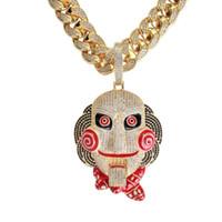 beweglicher halskettenanhänger großhandel-Große Edition Kettensäge Scare Mask Puppe Anhänger Mund bewegliche Top passende Edition hochwertige Hip Hop Halskette