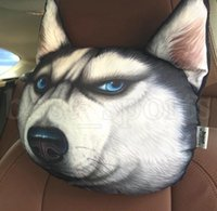 köpek boynu aksesuarları toptan satış-3D Hayvan Kafası Araba Kafalık Seyahat Boyun Yastık Karikatür Köpek FaceCar Boyun Yastık Otomobil Kafa Yastık Araba Aksesuarları LJJK1142
