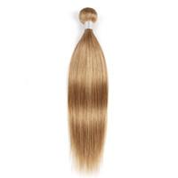 blonde ombre cheveux vierges achat en gros de-Bundles de cheveux humains blonds tout droit n ° 27 brésiliens péruviens malaisiens indien vierge remy extensions de cheveux 1 ou 2 faisceaux de 16 à 24 pouces