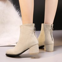 Wholesale black head scrub for sale - Group buy boots women s short tube ankle boots high thick with round head zipper stretch scrub autumn and winter stovepipe shoes