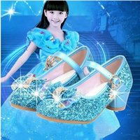 Wholesale cow girls dress resale online - 4 colors Fashion New Princess Shoes Kids Girls High Heels Dress Shoes Kids Baby Sequin Bow Girls Sandals
