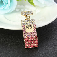 Wholesale round crystal brooch resale online - New Fashion Trendy Brooch Pins Gold Plated Crystal Letter Mini cute Bottle Brooch Pin for Girls Women Hot Jewelry Gift