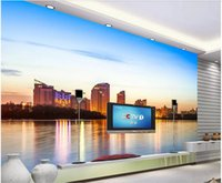 Wholesale night view painting for sale - Group buy WDBH d wallpaper custom photo Floating city at dusk night view painting living room home decor d wall murals wallpaper for walls d