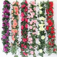 Wholesale bouquet lotus flowers resale online - Artificial Peach Blossom Simulation Chrysanthemum Silk Flower Fake Lotus Cane Vine Wedding Celebration Decorate Rose Flowers Garland yhb1