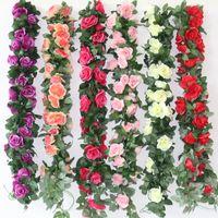 ingrosso fiori di loto falso-Simulazione di fiori di pesco artificiale crisantemo fiore di seta falso Lotus Cane Vine celebrazione di nozze decorare fiori di rosa ghirlanda 7 3yhb1