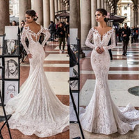 Wholesale pictures bling wedding dress for sale - Group buy Luxury Mermaid Wedding Dresses Long Sleeve Lace Appliques Button Back Bling Bling Bridal Gowns robe de mariée