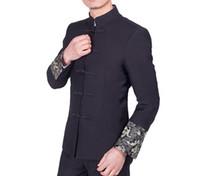 ingrosso giacca cinese drago-Giacca da uomo vintage in tessuto tinta unita, giacca tradizionale cinese, abiti tradizionali a forma di drago