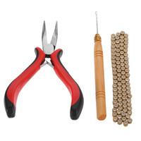 kit de herramientas de extensión de cabello micro perlas al por mayor-3Pcs Kit de herramientas de extensión de plumas para el cabello Alicate Gancho Tirando de la aguja 100Pc 5mm Anillos de enlace de silicona micro negro Cuentas W3257