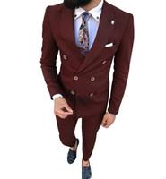 novidade masculina ternos venda por atacado-Thorndike Mais novos ternos Groomsmen escuro Borgonha Noivo Smoking Cutomer Homme Men casamento melhor homem Blazer 2 peças (jacket + pants)