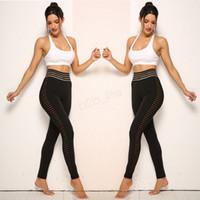 Wholesale women s mesh black leggings resale online - Women Sport leggings Yoga Pants Fitness Gym High Waist slim push up hip Legging Girl Black Mesh jogging Trouser Maternity Bottoms LJJA2753