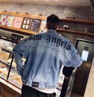 jaqueta vintage de jeans venda por atacado-Mens Hip Hop Denim Jacket palma Anjos Casual Bomber Streetwear Denim Jackets Men Alta Qualidade Homem Jean Vintage casaco Jacket
