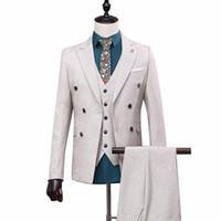mann anzug maßgeschneidert großhandel-OSCN7 zweireihigen Revers Tailor Made Anzüge Men 3 Stück Geschäft Hochzeit nach Maß Mens-Klage-Blazer anpassen 168-13