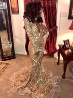 Wholesale dresses fashion nigerian for sale - New Deep V Neck Gold Mermaid Prom Dresses Vintage Long Sleeves African Nigerian Evening Gowns BC0933