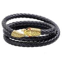 bracelets de petit ami achat en gros de-Multicouche En Cuir Bracelet Hommes Charme Vintage Noir 3 Couches Wrap Bracelet En Or Ruban Serpent Tête Bijoux Valentine Boyfriend Cadeau De Noël