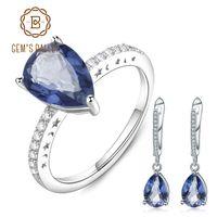 Wholesale mystic jewelry resale online - GEM S BALLET Natural Iolite Blue Mystic Quartz Gemstone Jewelry Set Sterling Silver Earrings Ring Set For Women Fine Jewelry