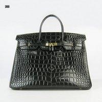 harte taschen großhandel-Entwerferfrauenkrokodilhandtaschen Luxuxrindleder 35cm Breitenspielraum beiläufiger schwarzer Beutel beständige starke hochwertige freies Verschiffen