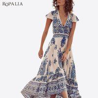 b38191a98d6d1f ROPALIA Chiffon Tiefer V Frauen Sommer Vintage Kleid Kurzarm Gypsy Floral  Hippie Boho Lange Maxi Strand Split Kleider Vestido T7
