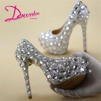 ingrosso scarpe da sposa formato 43-Downton Handmade Bling Strass Cristalli Scarpe da sposa Scarpe da sposa damigella tacco Prom Party Pump Shoes 6cm8cm11cm14cm tacchi taglia 34-43