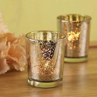 Wholesale bowl souvenir resale online - Glass Tealight Candle Holder Silver Gold Color Festival Souvenir Party Decoration Wedding Favor