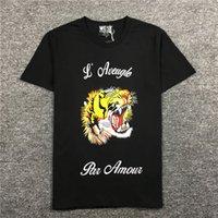 top camisa de algodón para hombre al por mayor-dsquared2 novedad 19ss Men l'aveugle par amour bordar Tiger T Shirts Camiseta Hip Hop Skateboard Street Camisetas de algodón Tee Top # F58
