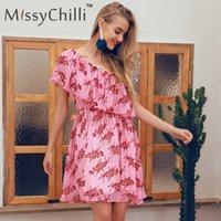 floral um ombro vestido rosa venda por atacado-MissyChilli Ruffle um ombro sexy mini vestidos Mulheres floral impressão rosa cintura alta boho Vestido de verão elegante causal vestido do clube