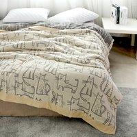 cobertor de verão de bambu venda por atacado-Junwell Bamboo Cotton Muslin Verão Blanket Bed Tampa Sofá Viagem respirável do gato dos desenhos animados Tópico cobertor grande lance macio