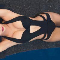 ingrosso un costume da bagno di un pezzo nero spinge verso l'alto-Costume da bagno sexy con balze e costumi da bagno Costume intero da bagno bikini con balze brasiliane