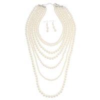 collar de perlas rojo blanco al por mayor-Cadena de perlas Collar de múltiples capas Cadenas Cadenas de serpientes de imitación Peal collares para las mujeres del partido blanco rojo redondo collares de perlas