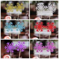 12 PCs Mignon Flocon de Neige Cupcakes Tops Paillettes g/âteau Topper Pics pour No/ël Anniversaire de f/ête de b/éb/é Douche de g/âteau de Mariage de d/écoration Ruban