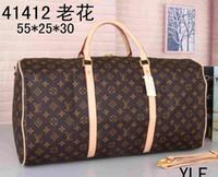 erkek marka seyahat çantası toptan satış-2019 marka spor çantası kadın seyahat çantaları el bagaj lüks tasarımcı seyahat çantası erkekler pu deri çanta büyük çapraz vücut çanta kılıf 55 cm gfsd