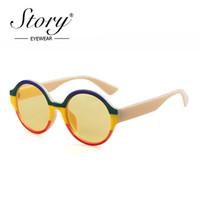 tons redondos para homens venda por atacado-HISTÓRIA 2019 Rodada Óculos De Sol Das Mulheres Homem Marca Designer Mix Color Oversized Lente Amarela Óculos de Sol Feminino Espelho Shades UV400