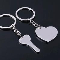 Wholesale letter keychains heart shaped resale online - Heart KeyChain Silver Letter I Love You Couple Key Heart Shape Zinc Alloy Key Ring Jewelry Valentine s Day Gift LJJJ47