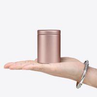 tee zinn quadrat metall großhandel-47x65mm Kleine Zylinder Schöne Metallbox Tee Dose Aufbewahrungsbox Quadratisch Versiegelt Dosen Kaffee Tee Dose Container