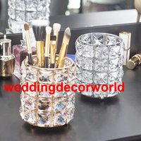 Wholesale golden wedding candles resale online - New style crystal Golden Candle Holders Hollow Crystal Wedding Table Candelabra Centerpiece Flower Rack Road Lead For Home Decor best563